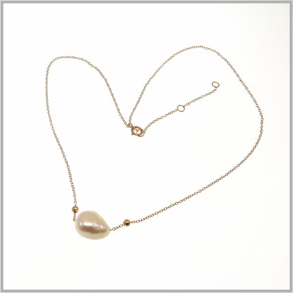 PS9.101 Baroque Rose Gold Pearl Necklace