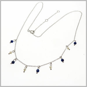 PS9.108 Pearl & Lapis Lazuli Necklace