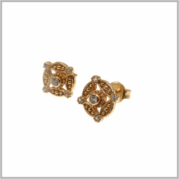 PS9.24 Rose Gold Compass Stud Earrings