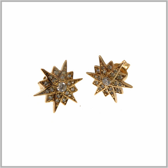 PS9.27 Rose Gold Art Deco Star Earrings