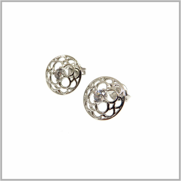 PS9.28 Silver Flower Mandala Earrings