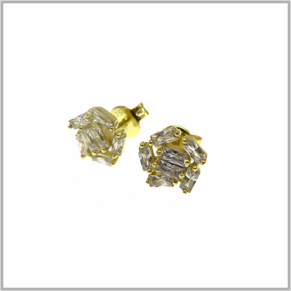 PS9.2 Gold Cubic Zirconia Cluster Stud Earrings