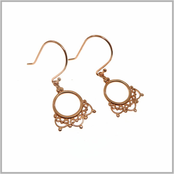 PS9.36 Ornate Rose Gold Drop Earrings