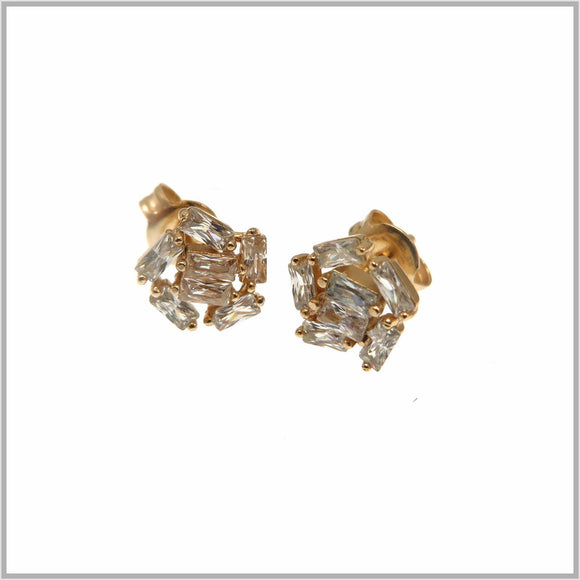 PS9.3 Rose Gold Cubic Zirconia Stud Earrings