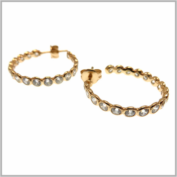 PS9.9 Rose Gold Cubic Zirconia Hoop Earrings