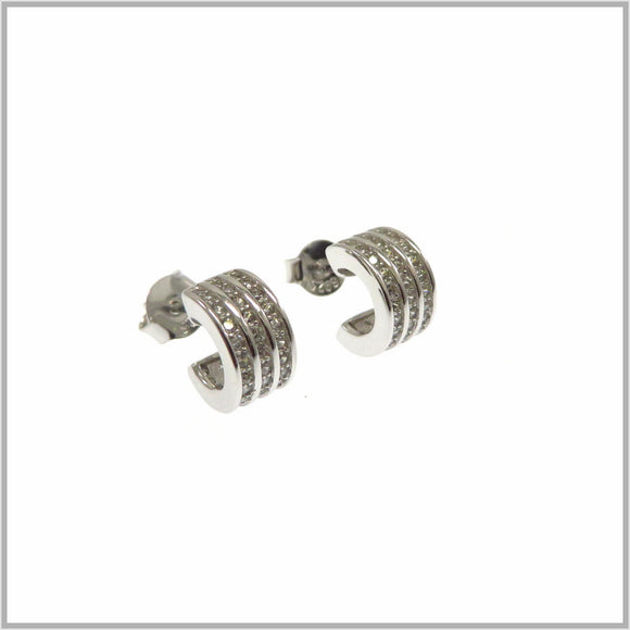 TY1.107 Silver Half Barrel Earrings