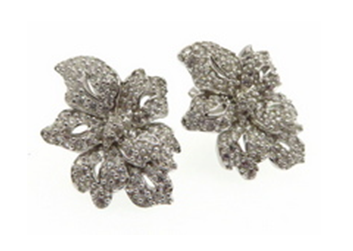 FM22.48 Abstract Floral Cubic Zirconia Earrings