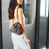 Leah Mini Faux Fur Backpack in grey