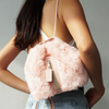 LEAH MINI FAUX FUR BACKPACK in pink