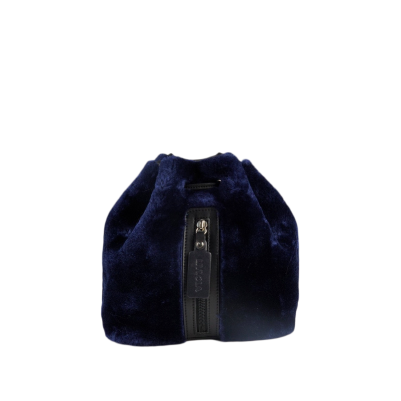 LEAH MINI FAUX FUR BACKPACK in royal blue