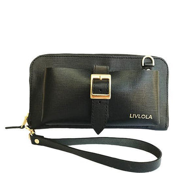 LIV LEATHER CROSSBODY WRISTLET in black