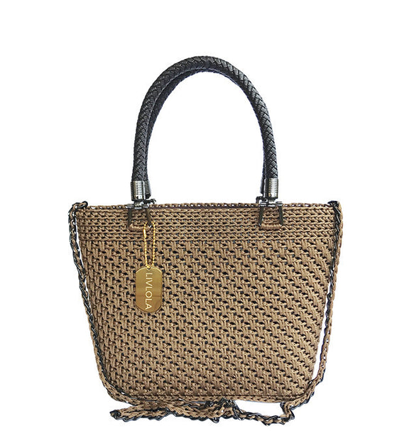LULLA MINI CROCHET CROSSBODY TOTE in brown
