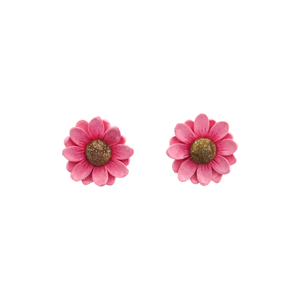 Pink Daisy Statement Stud Earrings- Spiky Peach
