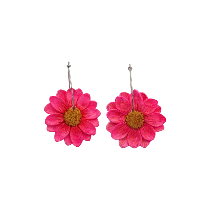 Daisy Dangle Earrings 'Design 5'- Spiky Peach