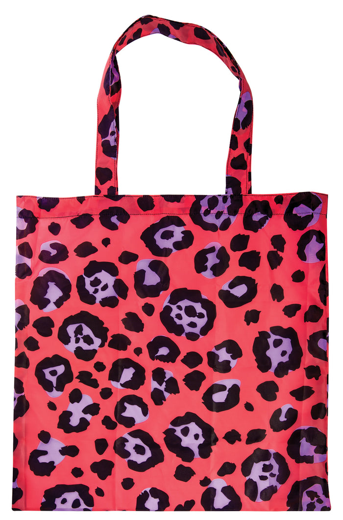 Red Leopard Print Foldable Shopping Bag