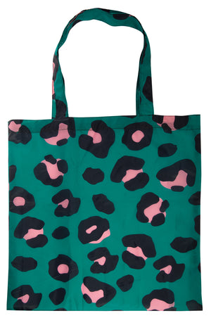 Green Leopard Print Foldable Shopping Bag