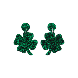 St Patrick's Day Four Leaf Clover Dangle Earrings