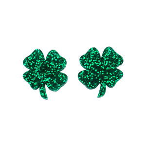 St Patrick's Day Four Leaf Clover Stud Earrings