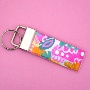 'Colour 5' Canvas Keyring- Poppy Lane Designs