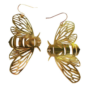 Bee Hook Dangle Earring in Gold- DENZ