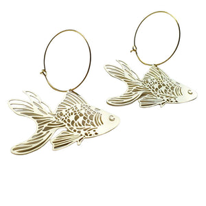 Goldfish Hoop Dangle Earring in Gold- DENZ