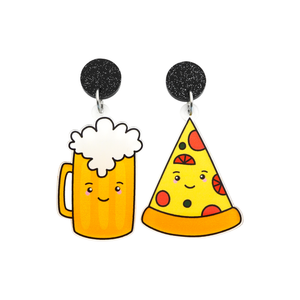 'Beer & Pizza' Food Dangle Earring