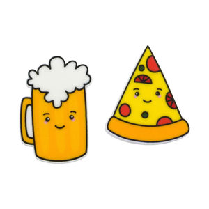'Beer & Pizza' Food Statement Stud Earring