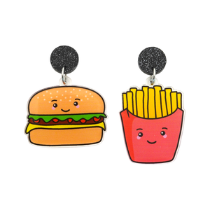 'Burger & Fries' Food Dangle Earring
