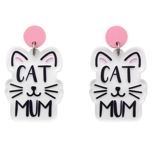 Cat Mum Printed Dangle Earrings