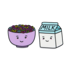 'Cereal & Milk' Food Statement Stud Earring