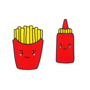 'Fries & Tomato Sauce' Food Statement Stud Earring