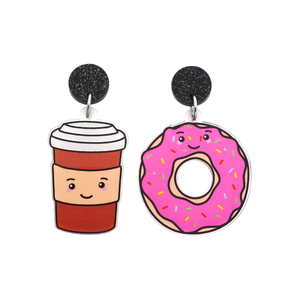 'Coffee & Donut' Food Dangle Earring