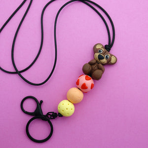 Teddy Bear Lanyard- Spiky Peach