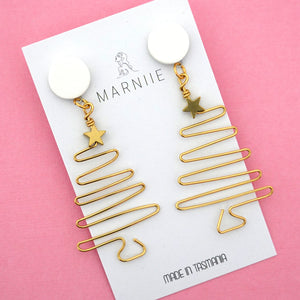 Christmas Tree with Star Dangle in White & Brass- Marniie Jewellery