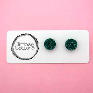 Circle Stud Earring (10mm) in Emerald Green Glitter- Timber & Cotton