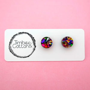 Circle Stud Earring (10mm) in Rainbow Flake Glitter- Timber & Cotton