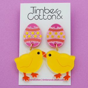 Easter Egg & Chicken Dangle Earrings