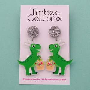 Easter Dinosaur Dangle Earrings