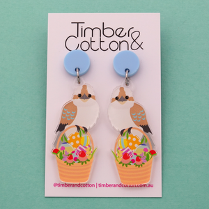 Easter Kookaburra on Basket Dangle Earrings