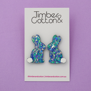 Easter Bunny 'Ocean Flake' Statement Stud Earrings