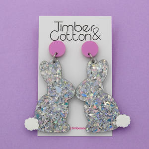 Easter Bunny 'Holographic Silver Flake' Dangle Earrings