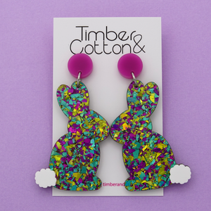 Easter Bunny 'Peacock Flake' Dangle Earrings