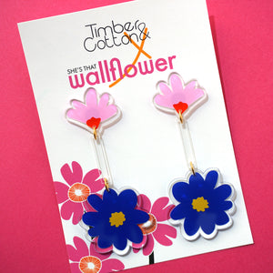 Art Floral Drop Dangles- Collaboration with She's That Wallflower