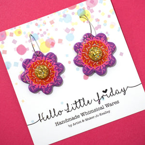 Rainbow Flower Hoops 'Design 4'- Hello Little Friday