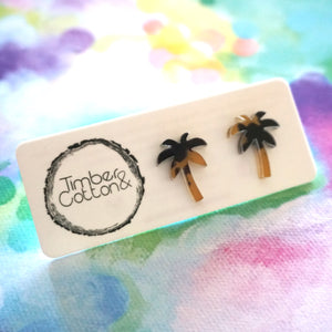 Palm Tree Studs- Leopard Print