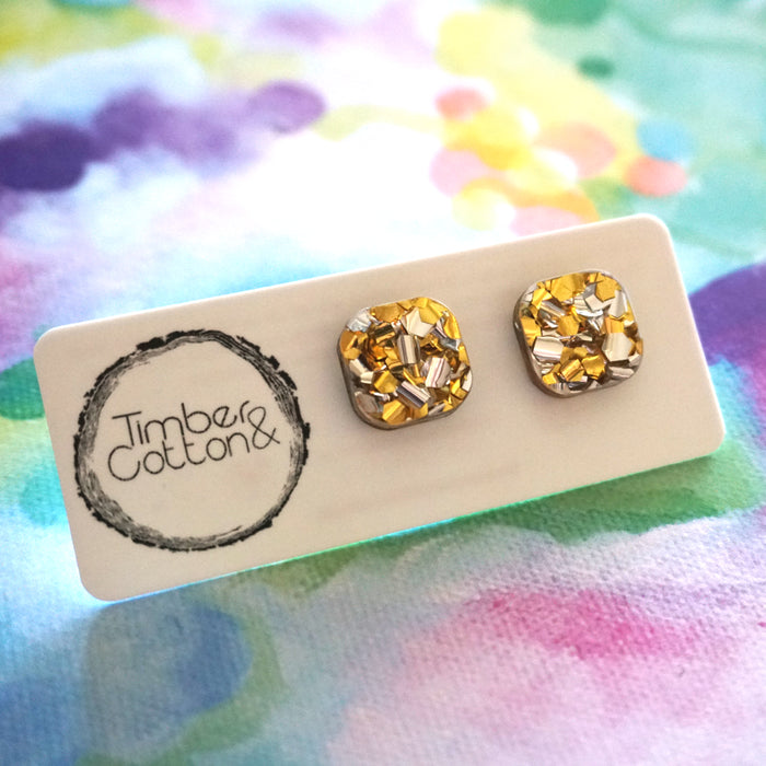 Square Stud- Gold & Silver Flake