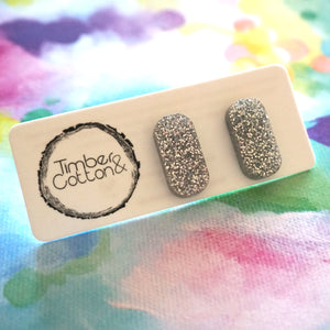 Rectangle Stud- Silver Glitter