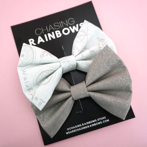 White 'Get Your Chemistry On' Big Bow Twin Pack- Chasing Rainbows
