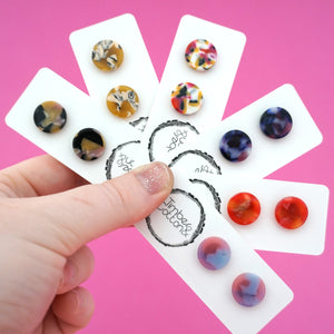 13mm 'Sunset' Circle Stud Earrings- Timber & Cotton