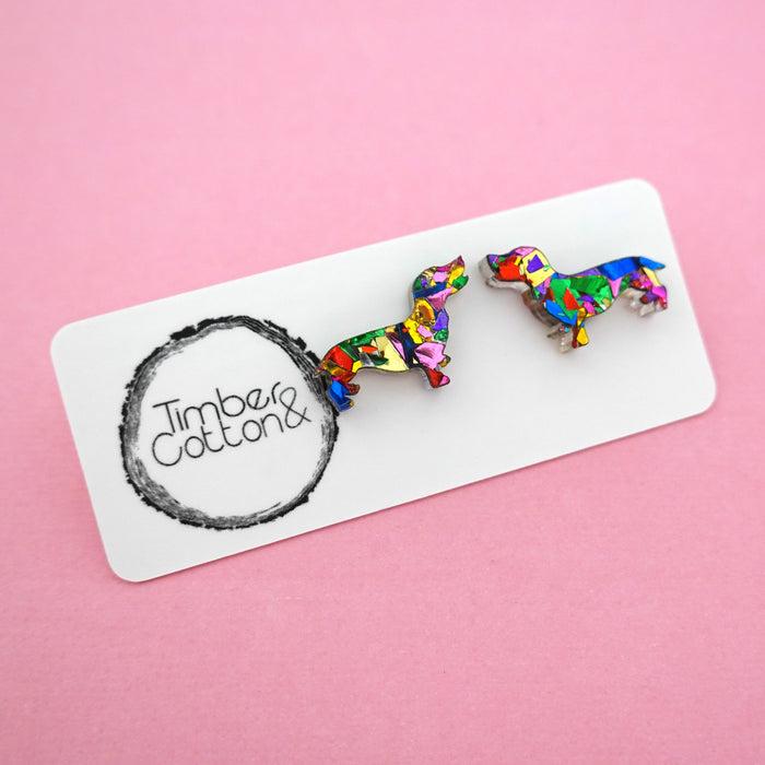 Sausage Dog 'Rainbow Confetti' Stud Earrings- Timber & Cotton